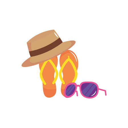 vacations concept, flip flops with sunglasses and hat over white background, flat style, vector illustration
