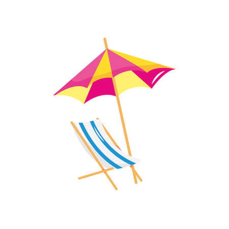 beach chair and parasol over white background, flat style, vector illustration  イラスト・ベクター素材