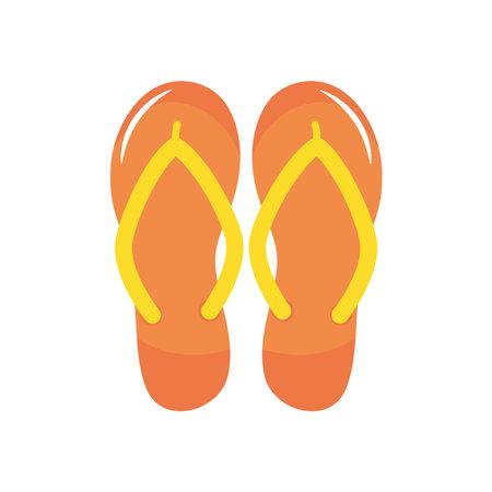 orange flip flops icon over white background, flat style, vector illustration Illustration