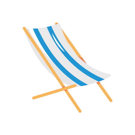 striped beach chair icon over white background, flat style, vector illustration