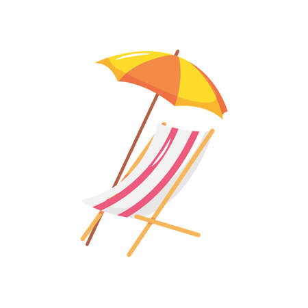 beach chair with parasol over white background, flat style, vector illustration