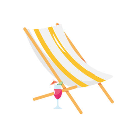 beach chair and cocktail icon over white background, flat style, vector illustration  イラスト・ベクター素材