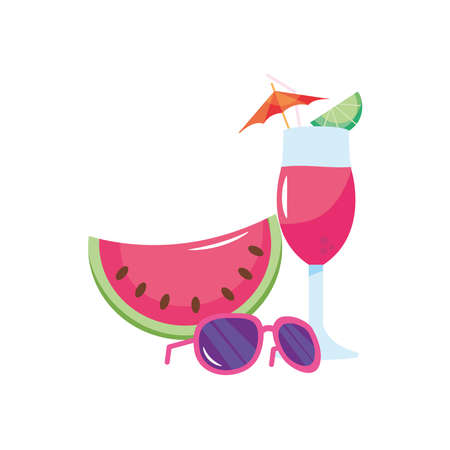 watermelon, sunglasses and cocktail over white background, flat style, vector illustration Çizim