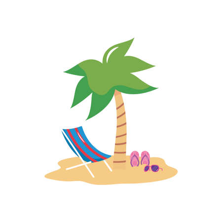 summer vacations concept, beach with beach chair and flip flops over white background, flat style, vector illustration Çizim