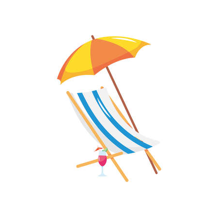 beach chair with parasol and cocktail over white background, flat style, vector illustration  イラスト・ベクター素材