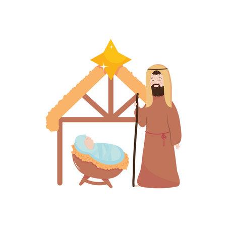 Nativity manger scene with baby jesus and Joseph over white background, flat style, vector illustration