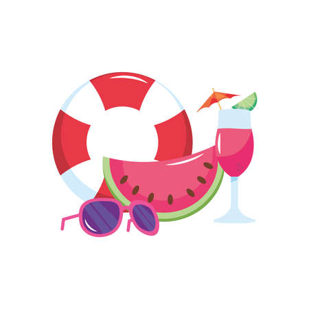 lifebuoy with watermelon, cocktail and sunglasses over white background, flat style, vector illustration