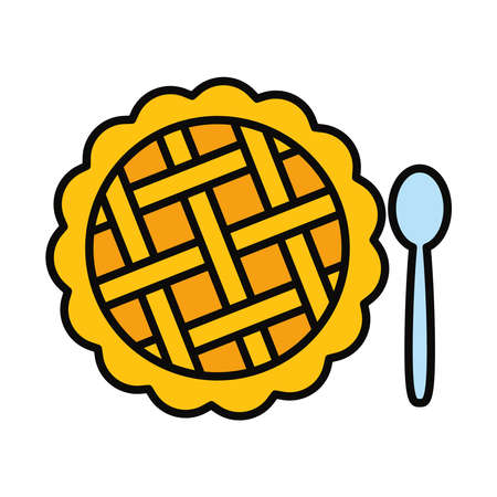 apple pie and spoon icon over white background, line and fill style, vector illustration