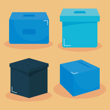 election day concept, ballot boxes icon set over orange background, colorful design, vector illustration
