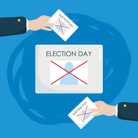 election day concept, ballot paper and hands around holding up a ballot papers over blue background, colorful design, vector illustration