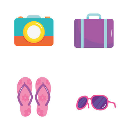 summer vacation travel, icons flip flops, suitcase, sunglassers and camera vector illustration Ilustração