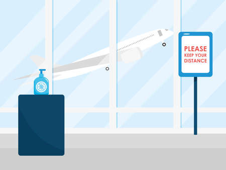 airport new normal, board please keep your distance and hands disinfect vector illustration