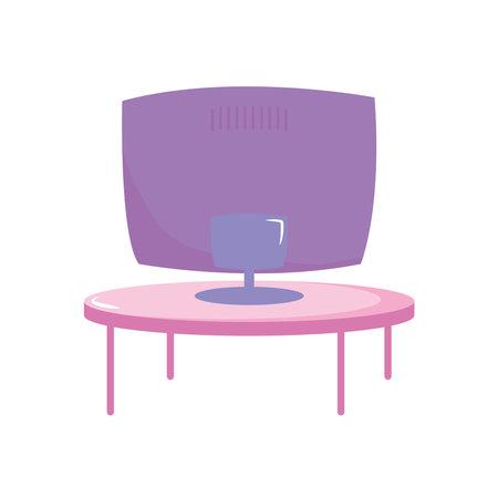 televison screen on round table furniture vector illustration