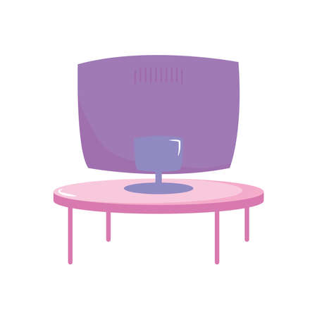 televison screen on round table furniture vector illustration