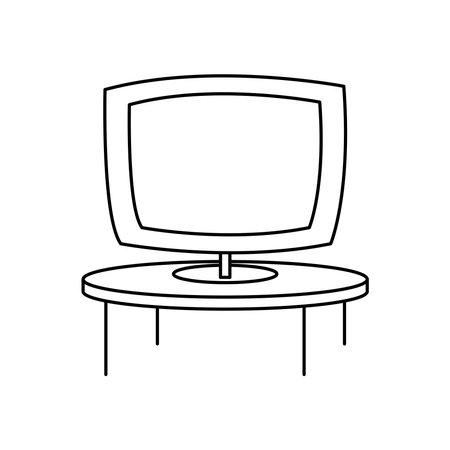 televison screen on round table furniture vector illustration linear Ilustración de vector