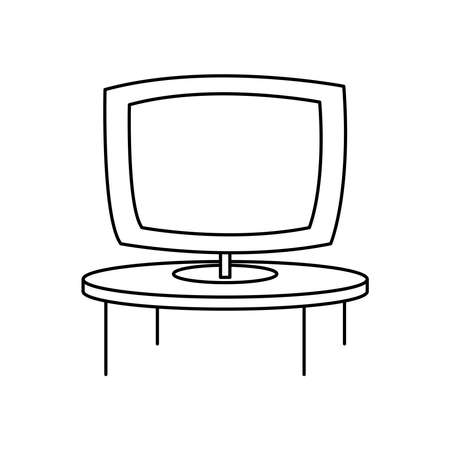 televison screen on round table furniture vector illustration linear