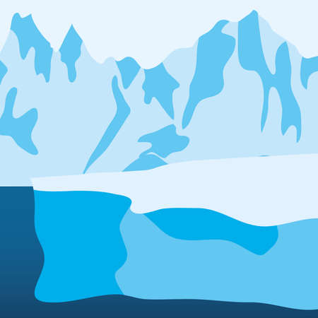icebergs mountains landscape, colorful design, vector illustration