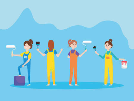 group young women with remodeling tools paint roller brush and bucket vector illustration remodeling  イラスト・ベクター素材
