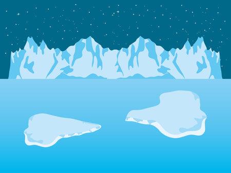 Night Arctic ice landscape with iceberg mountains and blocks, colorful design, vector illustration Ilustracje wektorowe