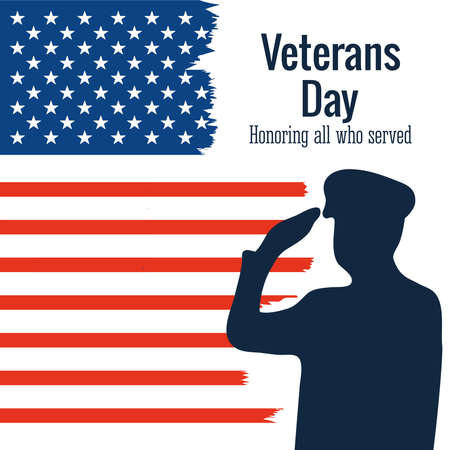 happy veterans day, soldier salute american flag grunge style vector illustration