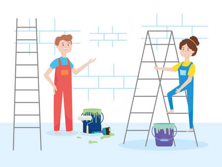 painters couple with ladder bucket paint roller brush wall remodeling vector illustration remodeling Vettoriali