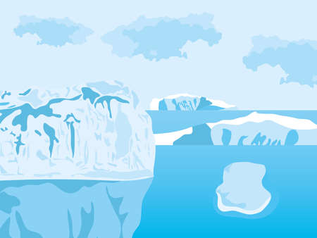 Cartoon Arctic Ice Landscape with Icebergs Outdoor Scene, colorful design, vector illustration