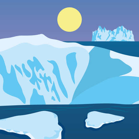 Vector illustration of cartoon nature winter arctic night landscape with icebergs, colorful design