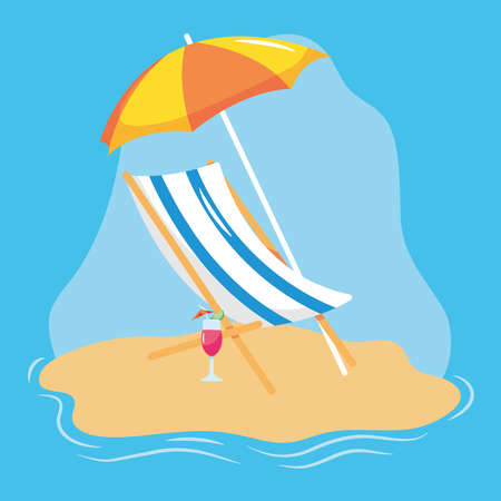 summer vacation travel, deck chair with umbrella and cocktail in the beach sand vector illustration