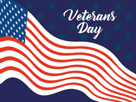 happy veterans day, waving flag patriotism card vector illustration