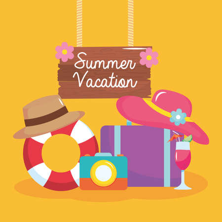 summer vacation travel, hanging wood lettering with float suitcase hat camera and cocktail vector illustration Ilustração