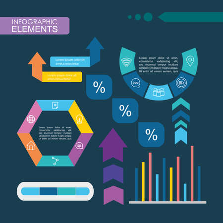 infographic elements design with graphic bar chart over blue background, colorful design, vector illustration