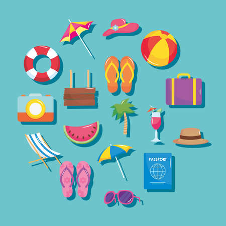 summer vacation travel, set icons include suitcase palm cocktail passport sunglasses hat and more vector illustration