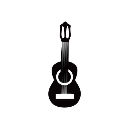 guitar classical instrument black and white style icon design, Music sound melody song musical art and composition theme Vector illustration