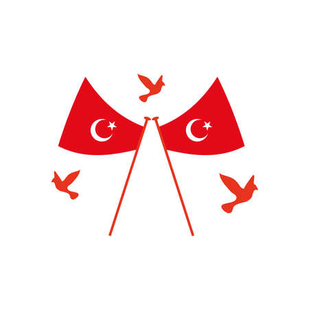 turkey flags with doves around over white background, flat style, vector illustration