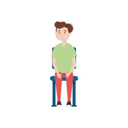 cartoon man sitting on a chair over white background, colorful design, vector illustration