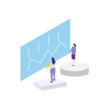 cartoon women standing on a plataforms watching a digital monitor over white background, flat style, vector illustration