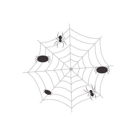 web with spiders over white background, flat style, vector illustration