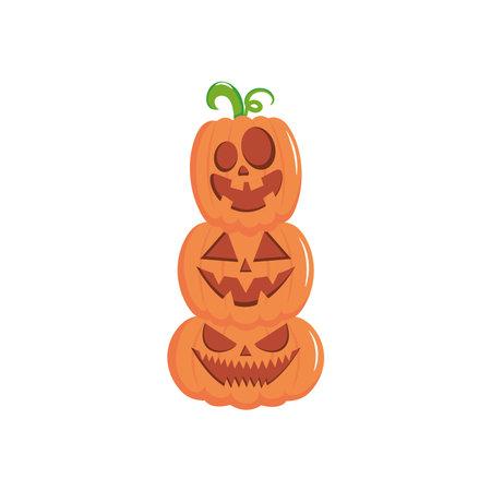 stack of halloween pumpkins over white background, flat style, vector illustration Vektoros illusztráció