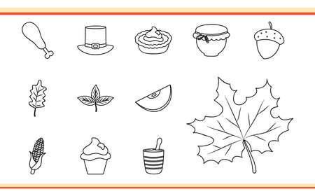 thanksgiving icon set over white background, line style, vector illustration Illusztráció