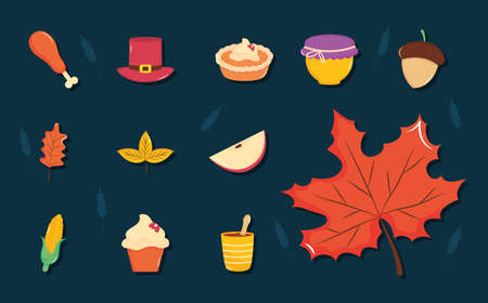 thanksgiving icon set over blue background, flat style, vector illustration