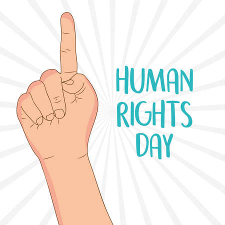 human rights day design with hand pointing up icon over white background, vector illustration