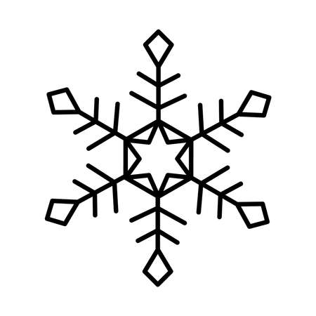 christmas snowflake icon over white background, line style, vector illustration