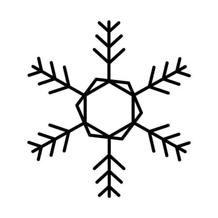snowflake decoration icon over white background, line style, vector illustration