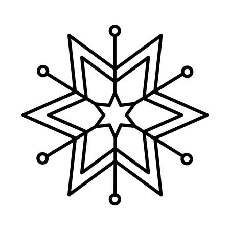 star snowflake icon over white background, line style, vector illustration