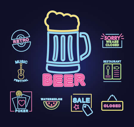 beer mug and neon signs icon set over purple background, vector illustration Vetores