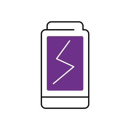 battery icon over white background, half line half color style, vector illustration Ilustração