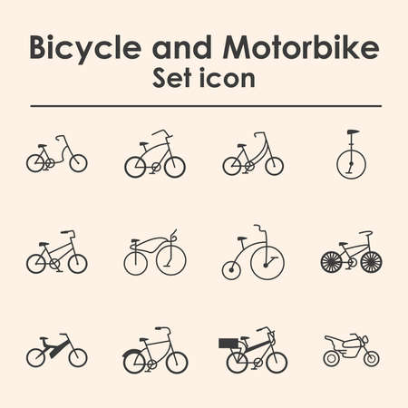 bicycles and motorbikes, set icons vector illustration design