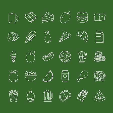 fruits and food icon set over green background, line style, vector illustration