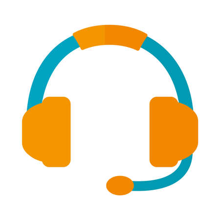 headset with microphone over white background, flat style, vector illustration