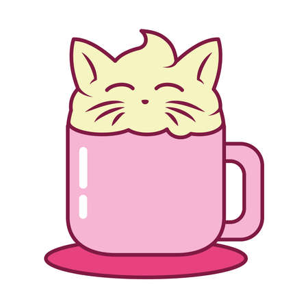 cute cappuccino with cream with cat design over white background, line and fill style, vector illustration